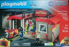 PLAYMOBIL 5663 Take Along Fire Station & Figure Bundle