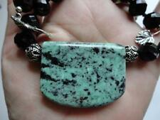 RARE GENUINE  MAW SIT SIT JADE PENDANT BLACK ONYX BEADS STERLING SILVER NECKLACE