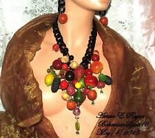 ARTURO E.REYNA AWESOME VINTAGE FRUIT SALAD CHARMS LUCITE CHAIN BIB/NECKLACE SET