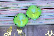 Enchanting ULTRA LIME GREEN Ab Swarovski Element Post Stud Earrings 12mm Bridal