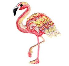 Iron On Embroidered Applique Patch - Tropical Pink/Yellow Flamingo Bird