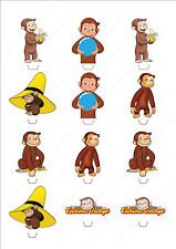 Novelty Curious George Stand Up Fairy Cake Cupcake Toppers Edible Birthday Kids