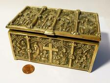 Antique Solid Cast Brass Casket Ecclesiastical Scenes Gothic Revival BOX