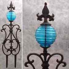 FLEUR-DE-LIS & BLUE GLASS GLOBE Cast Iron GARDEN STAKE Yard Art