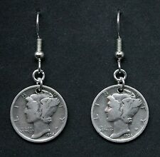 Mercury Dime Silver Earrings 90% Silver 10C Coins