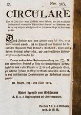 1809 Diebe Theft Räuber Begnadigung Pardon Circulare Nr. 256... wegen Diebstahl