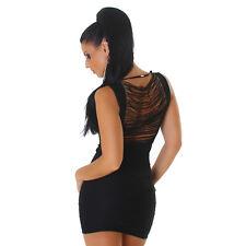 sexy Mini Basic Stretch Träger Kleid Minikleid Cut Out mit Fäden schwarz L/XL