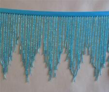 "Teal  5"" silver cast, chevron beaded fringe with sm bugles  #456/23"