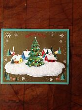 Vintage 3D Christmas Card Snow Covered Village with Envelopes