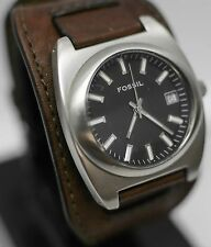 Vintage - Fossil JR-9125 Analog 42mm Wide Leather Cuff Strap Men's Wrist Watch