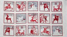 "Holiday Frost Winter Snowmen Deer Owls Racoon 23"" Panel Flannel HG Cotton Fabric"