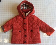 Burberry Jamie Baby Boy Girls Unisex  Red Quilted Jacket Coat 6 Month with Hood