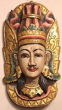 HAND CARVED AND PAINTED SOLID WOOD BALINESE  WALL MASK LAKSHMANA RAMAYANA HINDU