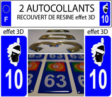 2 stickers plaque immatriculation auto DOMING 3D RESINE DRAPEAU CORSE DEPA 10