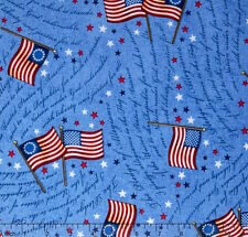 By 1/2 Yard Quilting Treasures Patriotic Fabric ~ Flag Pledge of Allegiance Blue
