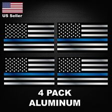 (4 Pack) ALUMINUM Police Officer Thin Blue Line American Flag decal stickers USA