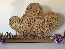 PERSONALISED HEART DROP BOX WITH NAME SET ON STAND- GUEST BOOK WEDDING