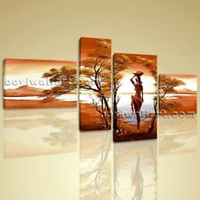 Large Canvas Wall Art Prints 4 Pieces Abstract Landscape Sunet Harvest Lady