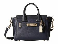 NWT  IN PLASTIC UNTOUCHED COACH SWAGGER 20  IN PEBBLE LEATHER #36235 NAVY