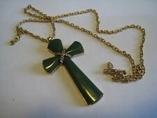 AVON Gold Tone Chain Necklace & Olive Green Plastic Crucifix, Cross Pendant
