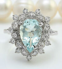 3.18CTW Natural Blue Aquamarine & Diamond in 14K Solid White Gold Women Ring