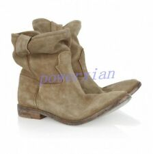 Womens Roma Slouch Leather Ankle Boot Pull On Vintage Casual Flat Shoe All US Sz