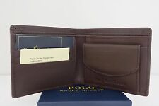 POLO RALPH LAUREN BI FOLD BROWN LEATHER 'BOULDER' NOTE COIN WALLET