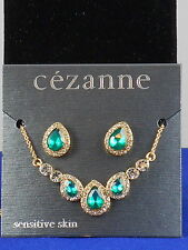 Cezanne Goldtone Teardrop Emerald Crystal Necklace And Earrings Set 31044NE $32