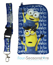 Bob, Kevin Minions Blue Wallet Rubber Pouch ID Holder Lanyard for Iphone 5,6, 6s