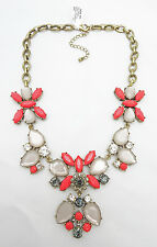 Fabulous New Statement Necklace with Coral Clear & Black Stones $36 Tags  #N2153