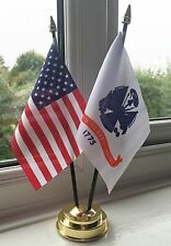 USA AND US ARMY TABLE FLAG SET 2 flags plus GOLDEN BASE AMERICAN MILITARY