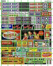 5053 DAVE'S DECALS VINTAGE BARBER SHOP TOBACCO SODA SIGNS ADS 30'S 40'S 50'S ETC