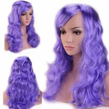 48/58cm Long Curly Straight Wavy Shiny Color Synthetic Wig Pink Purple White #df
