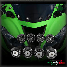 Strada 7 Racing CNC Windshield Screws Fairing Kit 8pc Kawasaki ZX9 ZX9R Black