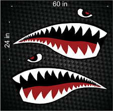 """Pair of 60"""" Fighter Flying Tigers Shark Teeth Mouth w/ Eye side graphics wrap"""