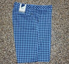 NWT Men's Izod Flat Front XFG Golf Shorts Sky Blue Plaid 30