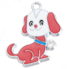 10pcs Red&White Enamel Rhodium Plated Alloy Doggy Pendants Dangle Charms Craft D