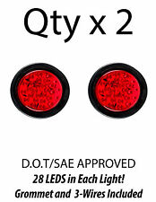 "4"" Inch Red 28 LED Round Stop/Turn/Tail Truck Light with Grommet & Wiring-Qty 2"