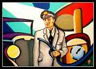 Volker Welz Shell Tankwart Tankstelle Oel Zapfsäule Artprint für Emailschild Fan