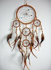 NEW NATIVE AMERICAN INDIAN STYLE DREAM CATCHER LIGHT BROWN /dcny11trishellhbr