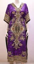 PLUS SIZE ETHNIC PAISLEY FLORAL ABSTRACT PRINT LONG KAFTAN DRESS PURPLE 28 30