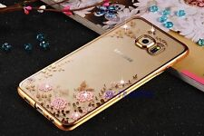 Bling TPU Silicone Glitter Chrome Soft Gel Case Cover + Tempered Glass Samsung