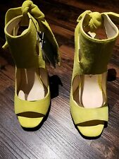 ZARA Yellow Suede Leather High Heel Open toe Sandals With Bow Ribbon 6 US 36 EUR