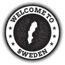 Sweden Map Grunge Welcome Stamp Car Bumper Sticker Decal 5'' x 5''
