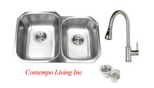 "32"" Stainless Steel Double 60/40 Bowl 18 Gauge Undermount Kitchen Sink Faucet"