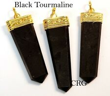 Gold Plated Black Tourmaline Flat Point Pendant (FP12DG)