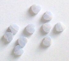 7mm delicate Blue Lace Agate heart beads, qty 10, beads for jewellery and crafts