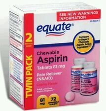 Equate Low Dose Aspirin Cherry Pain Reliever Twin Pack 72 Tablets Total