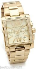 NEW-MICHAEL KORS GIA GOLD TONE GLITZ CHRONOGRAPH ROMAN NUMBERS WATCH-MK5673+BOX