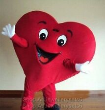 Adult Size Red Heart Mascot Costume Cartoon Clothing Fancy Dress Party Suit